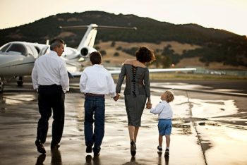 Family Flying on Private Jet